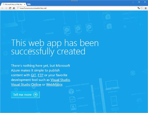 ⑦「URL」のリンクをクリックすると、ブラウザに作成したWebサイトが開きます。