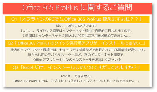 Office 365 ProPlusに関するよくあるお問合せ