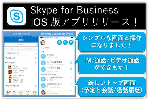 Skype for BusinessのiOSアプリがリリース!